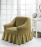 Чохол на крісло з спідницею Зелений Home Collection Evibu Туреччина 50094, фото 4