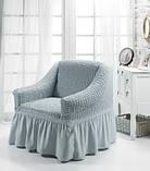 Чохол на крісло з спідницею Зелений Home Collection Evibu Туреччина 50094, фото 3