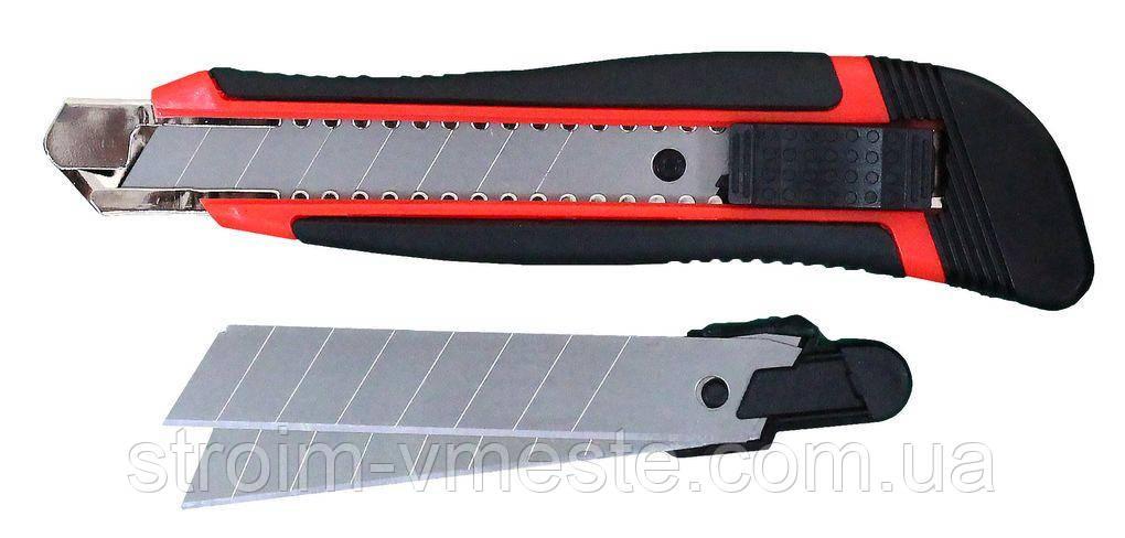 Нож канцелярский с фиксатором + 2 лезвия NORMA 4512 прорезиненный 18 мм