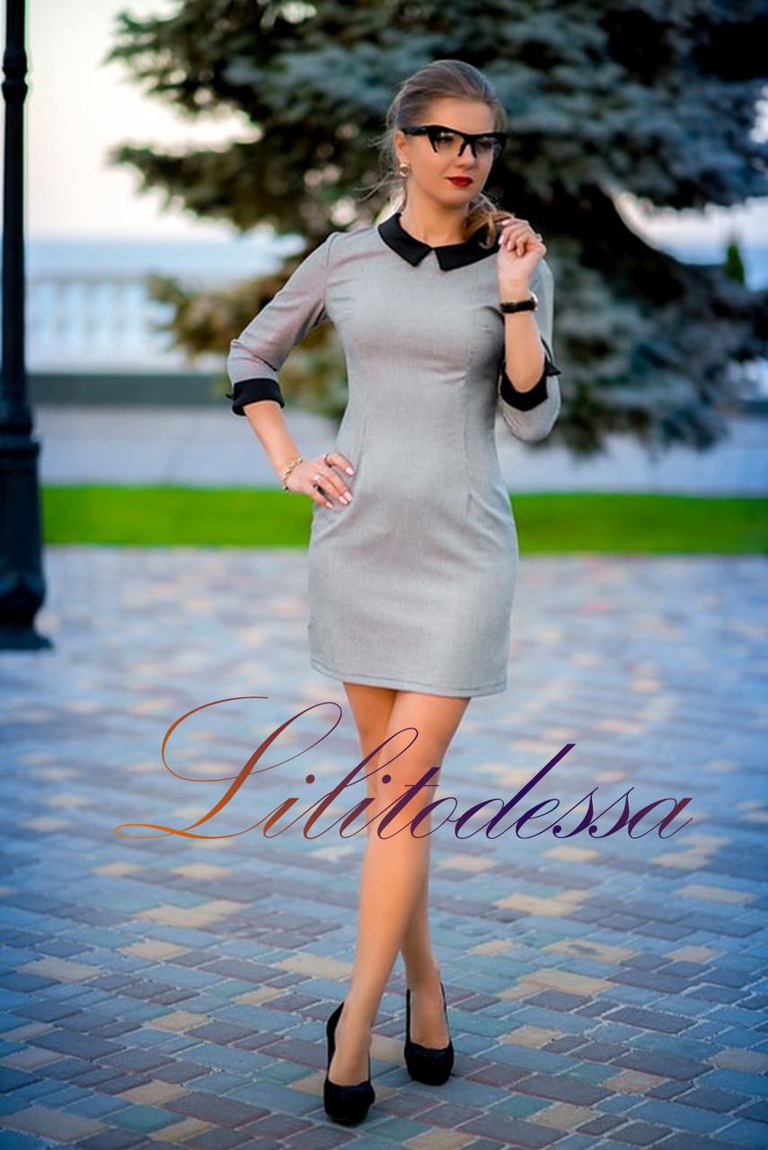 Платье с отложным воротником черно-белый