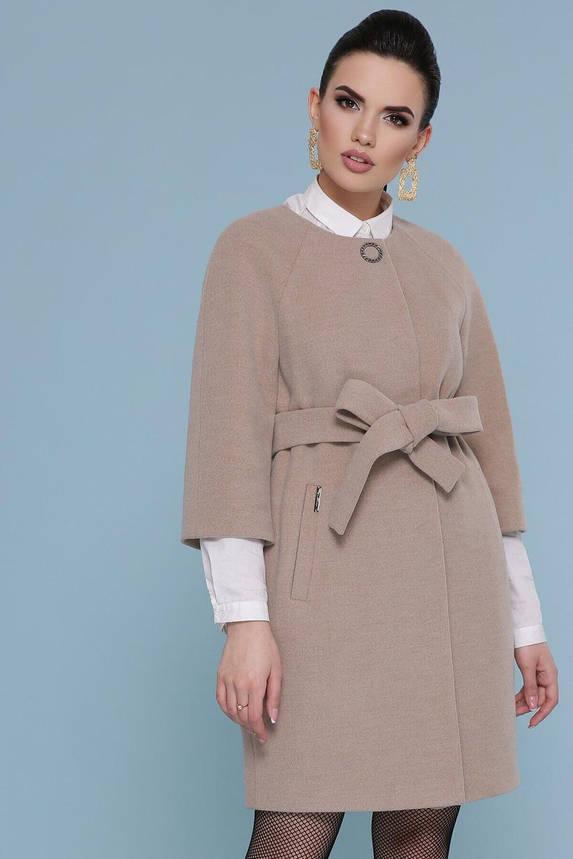 Бежевое кашемировое пальто без воротника, XXS(40), фото 2