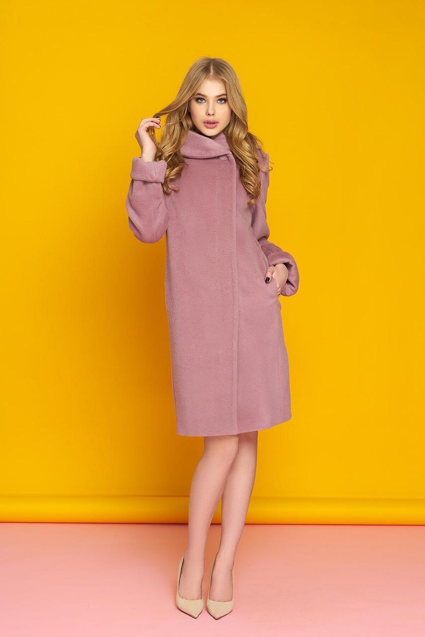Классическое однобортное пальто из шерсти розовое, S(44)
