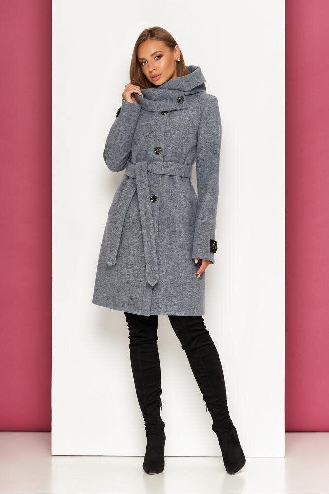 Женское демисезонное пальто с капюшоном серое, XS(42)