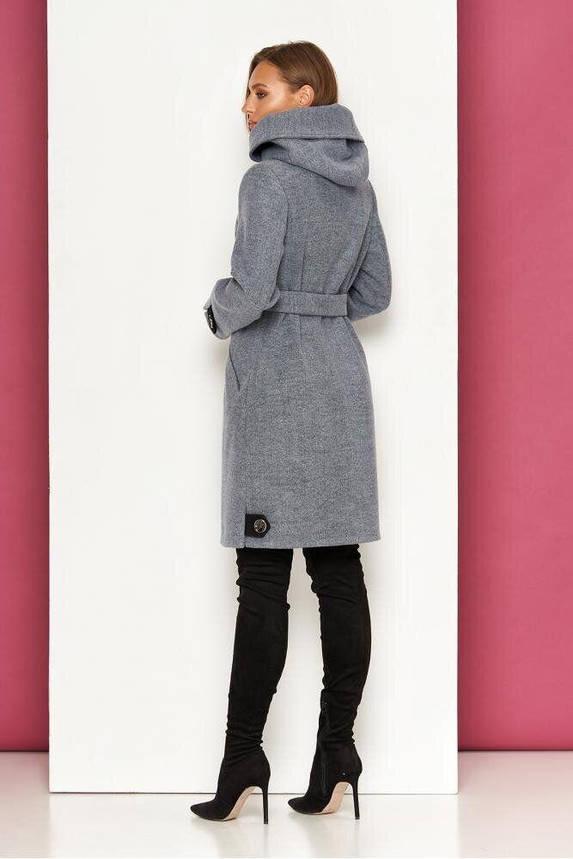 Женское демисезонное пальто с капюшоном серое, XS(42), фото 2