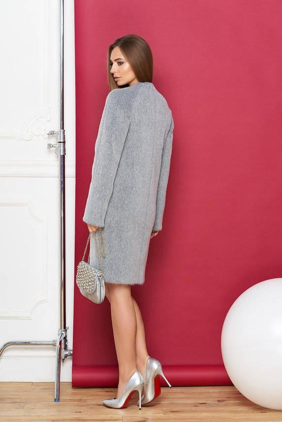 Демисезонное шерстяное пальто без воротника серое, XS(42), фото 2