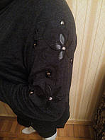 Туника с хомутом и вышивкой серая . размер 56, фото 1