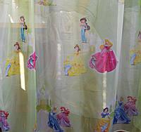 Тюль для детской принцессы дисней салатовый фон