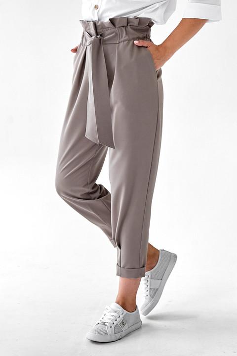 Укороченные серые брюки с завышенной талией. Модель 241. Размеры 42-48