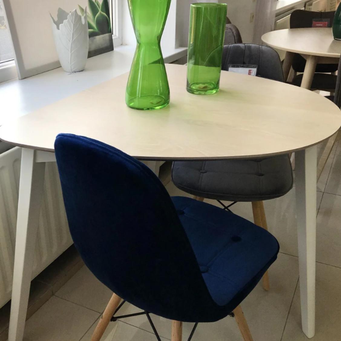 Маленький белый стол Signal Karl 90х80см для кухни с полукруглой столешницей в скандинавском стиле Польша