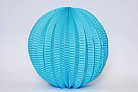 Бумажный подвесной фонарик-аккордеон, голубой, 20 см