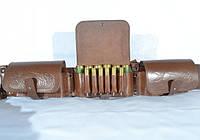 Патронташ на 36 патронов комбинированый закрытый кожаный коричневый
