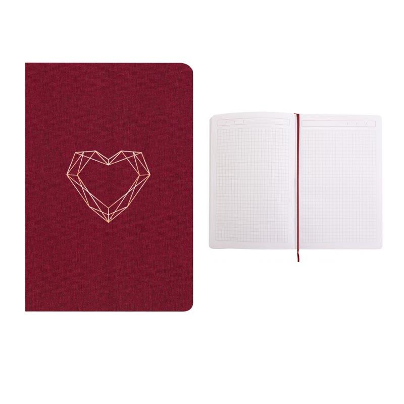 Записная книга А5 Optima Heart текстильная обложка твердая