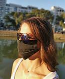 Маска мужская | женская защитная хлопковая гипоаллергенная двухслойная многоразовая, x black от ROYAL PLAY, фото 7