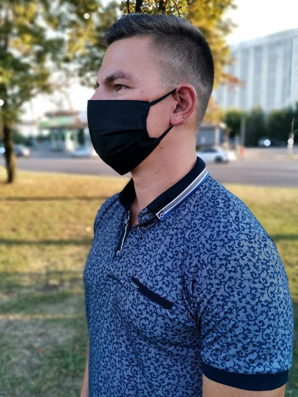 Маска мужская | женская защитная хлопковая гипоаллергенная двухслойная многоразовая, x black от ROYAL PLAY