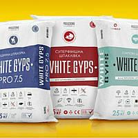 СТАРТОВА ШТУКАТУРКА WHITE GYPS 25 кг +/–0,3  Суха штукатурна суміш на основі гіпсового в'язучого з добавкою, фото 1