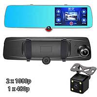 Зеркало Видеорегистратор Touch Screen H618 Full HD с двумя камерами  и камера заднего вида, фото 1