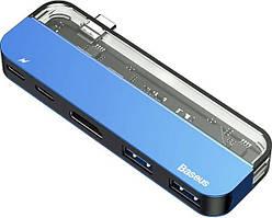 Концентратор (USB хаб) Baseus Transparent Series Type-C Multifunctional Adapter Blue (CAHUB-TD03)