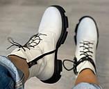Ботинки белые молодежные деми из натуральной кожи от производителя модель АР284, фото 2
