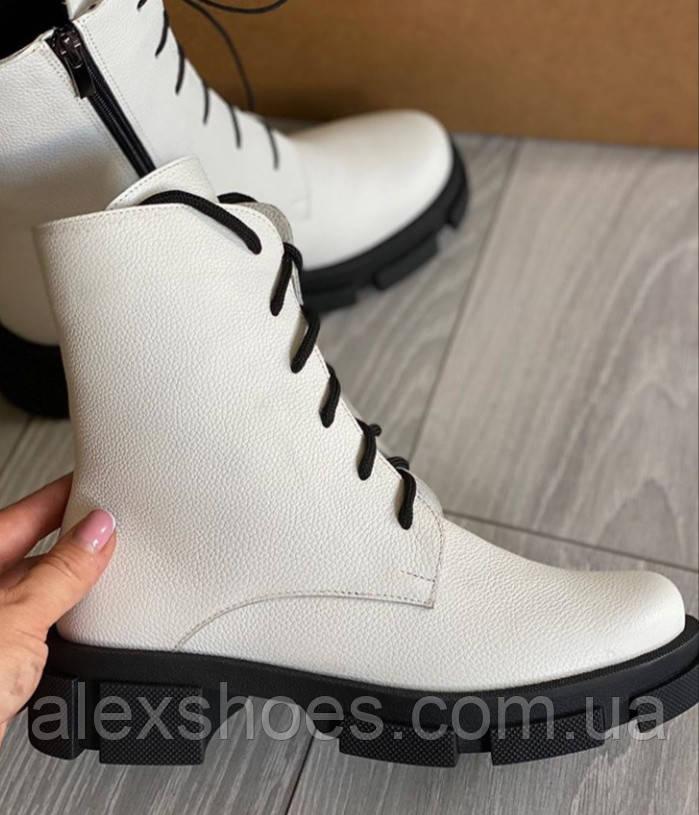 Ботинки белые молодежные деми из натуральной кожи от производителя модель АР284