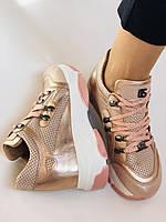 Стильні жіночі кеди-кросівки пудра.Натуральна шкіра. Висока якість.Туреччина р. 37. 38., фото 9