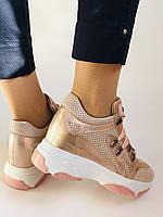 Стильні жіночі кеди-кросівки пудра.Натуральна шкіра. Висока якість.Туреччина р. 37. 38., фото 7