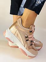 Стильні жіночі кеди-кросівки пудра.Натуральна шкіра. Висока якість.Туреччина р. 37. 38., фото 5