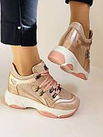 Стильні жіночі кеди-кросівки пудра.Натуральна шкіра. Висока якість.Туреччина р. 37. 38., фото 6