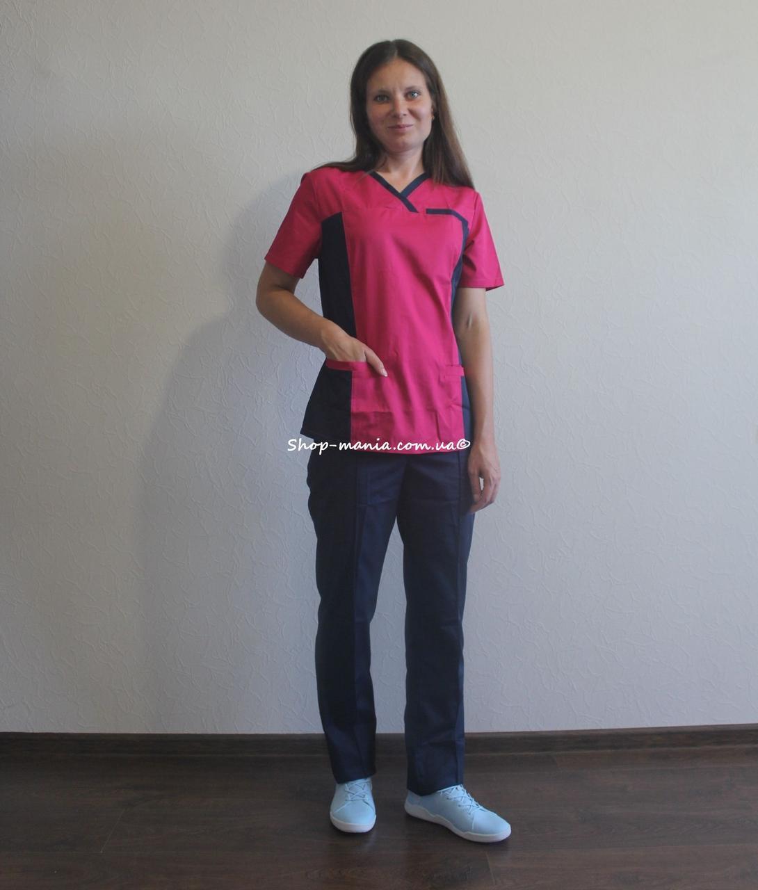 Хирургический медицинский женский костюм SM 1400 коттон Lilija 42-56 р (малина-синий)
