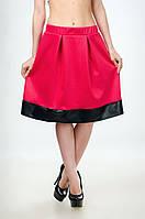 Женская юбка - колокол со вставкой из кожзама, фото 1