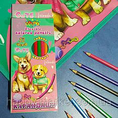 Олівці кольорові 12 кольорів Kidis Love my corgi 13355