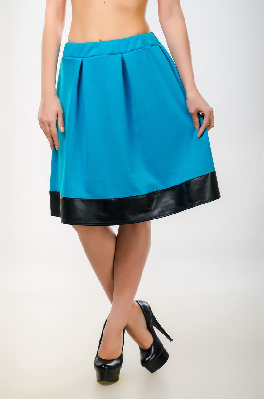 6a370fbe759 Женская юбка - колокол со вставкой из кожзама - Интернет-магазин