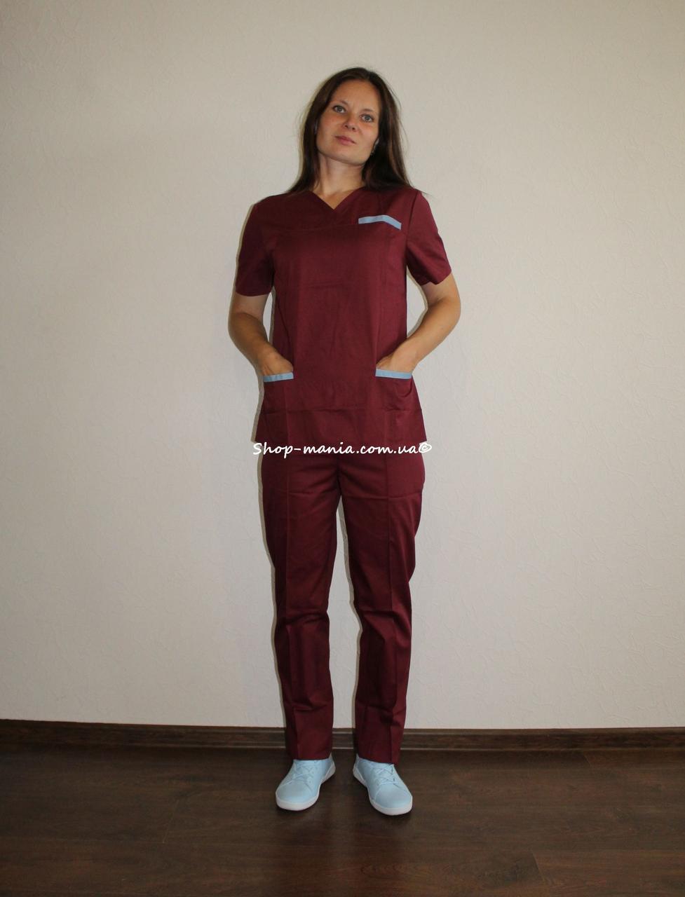 Хирургический медицинский женский костюм SM 1400-7 коттон Lilija 42-56 р (бордо-серый-бордо)