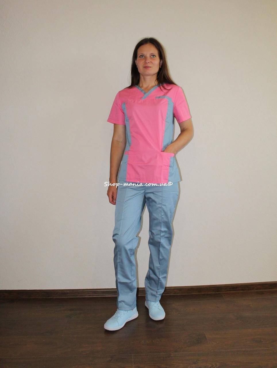 Хирургический медицинский женский костюм SM 1400-9 коттон Lilija 42-56 р (коралл-серый)
