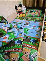Комплект детского постельного белья Майнкрафт, полуторное, Бязь Люкс