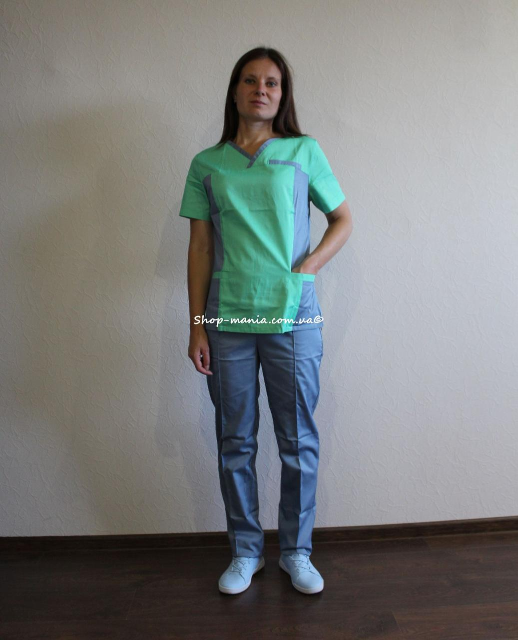 Хирургический медицинский женский костюм SM 1400-10 коттон Lilija 42-56 р (трава-серый)
