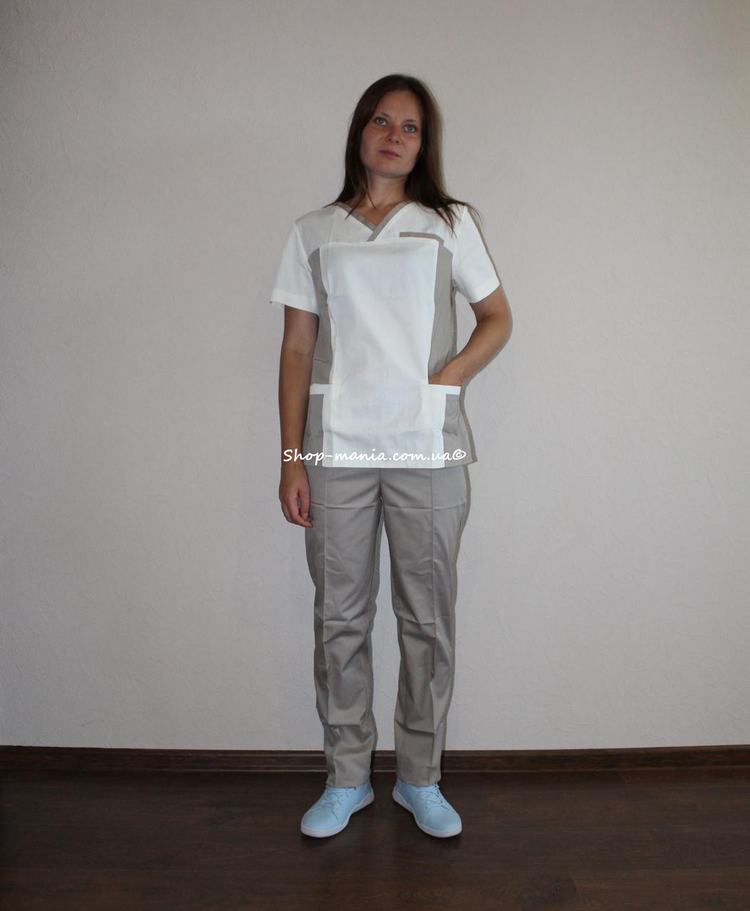 Хирургический медицинский женский костюм SM 1400-12 коттон Lilija 42-56 р (молочный-беж)