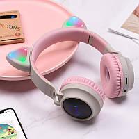 Беспроводные детские Наушники с Ушками с подсветкой + FM-Радио + MicroSD Cat Ear BT028C Серо-Розовые