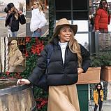 Осіння коротка куртка жіноча чорна червона бежева сіра біла гірчиця какао 42 44 46 дута стиль, фото 4