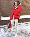 Осіння коротка куртка жіноча чорна червона бежева сіра біла гірчиця какао 42 44 46 дута стиль, фото 5