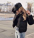 Осенняя короткая куртка женская черная красная бежевая серая белая горчица какао 42 44 46 дутая стиль, фото 5