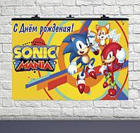 Плакат для праздника Соник на желтом фоне 75×120см рус