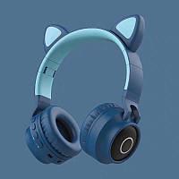 Беспроводные детские Наушники с Ушками с подсветкой + FM-Радио + MicroSD с микрофоном Cat Ear BT028C Синие