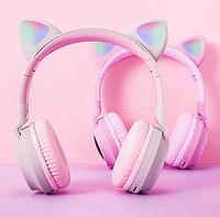 Беспроводные детские Наушники с Ушками с подсветкой + FM-Радио + MicroSD с микрофоном Cat Ear BT028C Розовые