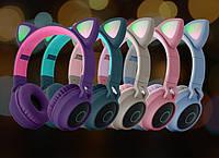 Беспроводные детские Наушники с Ушками с подсветкой + FM-Радио + MicroSD с микрофоном Cat Ear BT028C Bluetooth