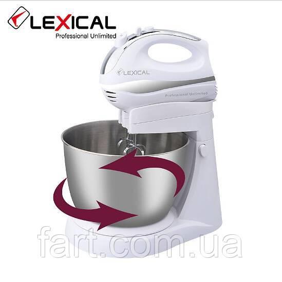 Профессиональный миксер LEXICAL LMB-1807 с металлической чашей 3.5 л, 2 вида насадок, турбо-режим, 250Вт