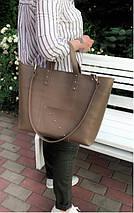 02 Натуральная кожа. Сумка женская бежевая большая кофейная Женская сумка кожаная бежевая коричневая, фото 3