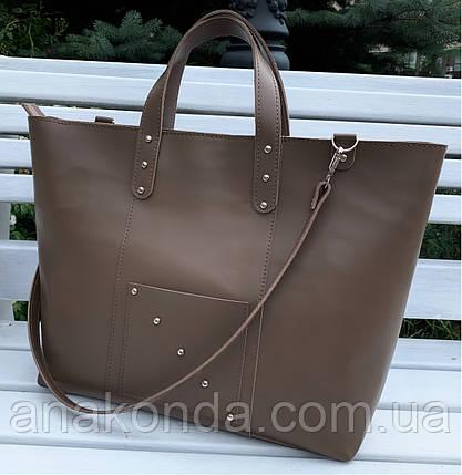 02 Натуральная кожа. Сумка женская бежевая большая кофейная Женская сумка кожаная бежевая коричневая, фото 2