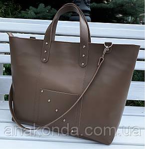02 Натуральная кожа. Сумка женская бежевая большая кофейная Женская сумка кожаная бежевая коричневая
