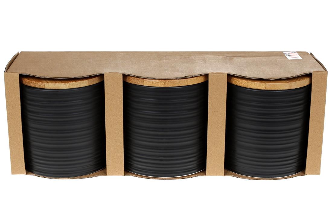 Набор (3шт) керамических банок 550мл с бамбуковыми крышками с объемным рисунком Линии (304-923)