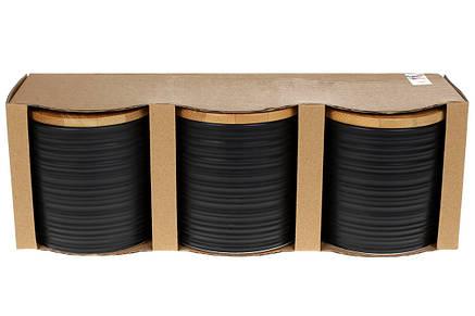 Набор (3шт) керамических банок 550мл с бамбуковыми крышками с объемным рисунком Линии (304-923), фото 2